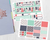 January Monthly Sticker Set - Monthly View Stickers, Erin Condren Vertical Horizontal and Hourly Planners, Happy Planner, Planner Stickers