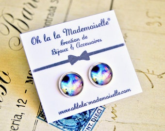 Purple and turquoise galaxy handmade glass cabochon earrings