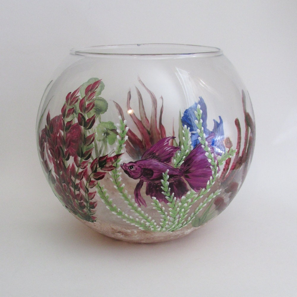 hand painted beta fish bowl decorative fish tank aquatic