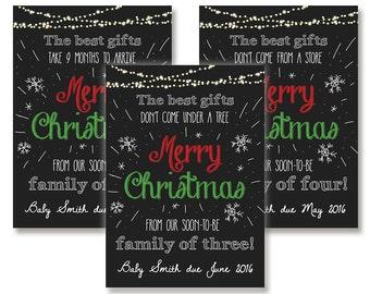 Chalkboard Christmas Baby Announcement Card Custom Digital Download