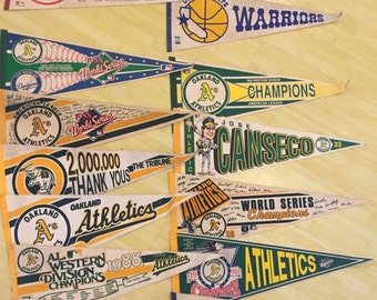 Lot of 12 baseball flags, dodgers, A's, cincinatti reds, jose canseco, plus 2 warriors flags. 1988-1989