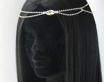ANOUSHKA Bohemian Wedding Headdress, Hair Chain, Forehead Jewelry, Bridal Halo,