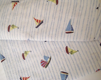 Sailboat Pottery Barn Kids Flat Sheet Twin Size Bed Boy Kids Bedding Pure Cotton Craft Fabric Sailing Boat Quilt Fabric USED Clean