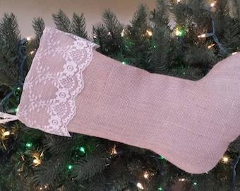 Lace & Burlap Christmas Stocking