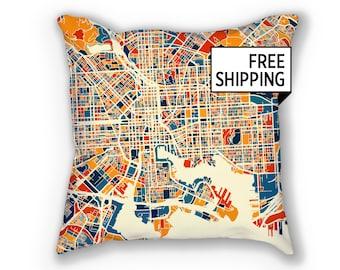 Baltimore Map Pillow - Maryland Map Pillow 18x18