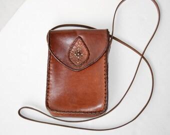mini vintage brown leather bag
