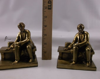 """Borglum's Abe Lincoln Sitting On Park Bench Plated White Metal Bookends Ronson LV 1931 4"""" Tall.epsteam"""