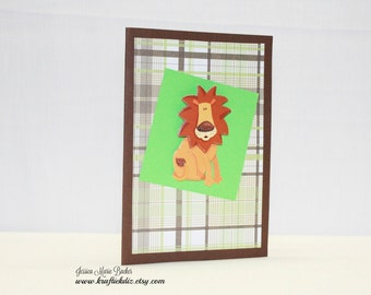 Fun Lion Card, Children's Any Occasion Card, Blank Card, Brown and Green