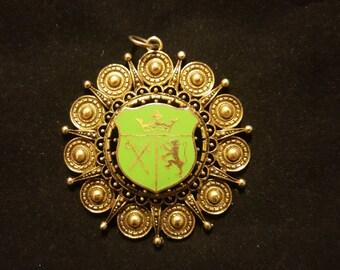 Vintage Brass Plated Medallion Enameled Coat of Arms Openwork