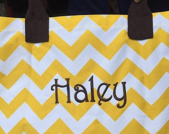 Yellow Chevron Print Tote Bag, Carry On Tote Bag, Shopping Tote Bag, Yellow Chevron, Monogram Tote Bag, Embroiderd Tote Bag