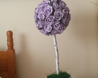 Lilac Rose Topiary Tree, Topiary Trees, Lilac Roses, Real touch foam roses, Home Decor, Lilac Weddings, Table Decorations,