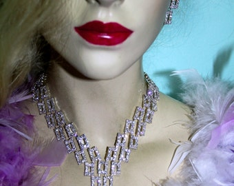 Bridal Wedding Jewelry Rhinestone Necklace Choker Earring Set