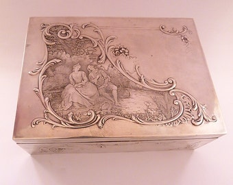 Art Nouveau 950 silver jewellery box / jewelry box table top cigarette box PAUL TALLOIS silver dressing table accessories