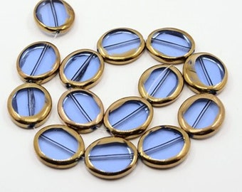 30 Blue copper-plated, flat oval beads, 23 x 21 mm