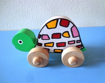 Wooden Baby Turtle - Stocking Stuffer - Whimsical - Hand Painted - Hand Made - Waldorf - Non Toxic Kids Toy