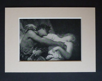 1913 Antique George Frederic Watts Print of Orpheus and Eurydice, Available Framed, Myth Art, Symbolist Gift, Symbolism Decor, Classical Art