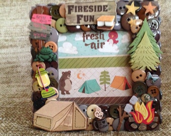 Camping Themed Button Picture Frame