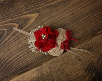 Beige Lace Red Flower Headband Double Rosettes Burlap Flower  Headband, Beige headband for baby toddler girl