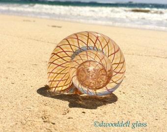 PEACH & PINK MOLLUSK, Hot-Sculpted Glass Paperweight, Glass Snail, Glass Animal, Sculpted Glass Figurine, Fine Art Glass Sculpture, Decor