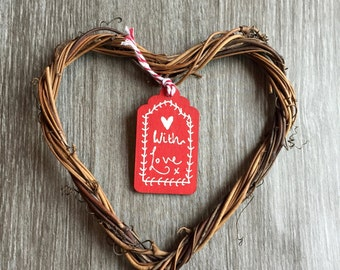 Wooden Gift Tag / Wine Tag / Tree Decorations - Red