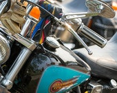 Turquoise Harley - Motorcycle Decor - Motorcycle Art Prints - Retro Print - Motorcycle Photography - Garage Art - 8x12