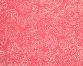 Chiyogami 'Pink Dahlia' 750c Handmade Silk-Screened Japenese Paper for Craft, Jewellery and Art Projects