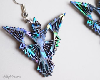 Phoenix Earrings - Paua Shell Abalone Firebird Earrings - Laser Cut Blue Bird Earrings