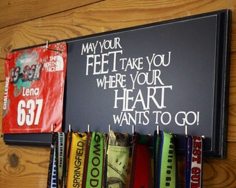 Running medal holder and race bib hanger - may your feet take you where your heart wants to go