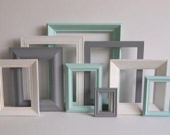 Aqua Gray And White Custom Picture Frames Set - Gallery Wall Collection - Vintage Ornate - Baby Nursery - Shabby Chic - Distressed