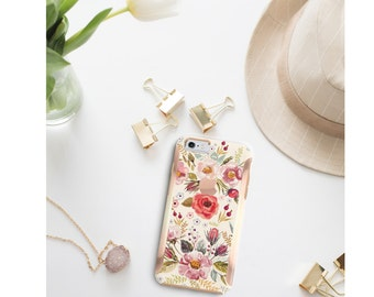 Platinum Edition Morning Floral Medley with Rose Gold Detailing Hybrid Hard Case Otterbox Symmetry iPhone 6 / iPhone 7 / Galaxy S7 / S7 Edge