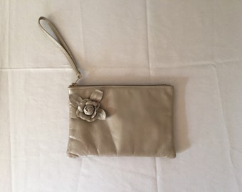 taupe rose leather clutch | 80s small leather clutch