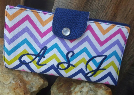 Colorful Chevron Checkbook Holder, Personalized Coupon Wallet