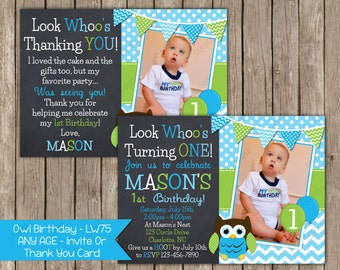 Owl - Any Age - Boy - Birthday Invitation OR Thank You Card Printable Digital File