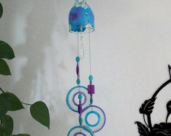 Glass Wind Chime, Recycled wine bottle wind chime,  Sun catcher, Yard art, Patio decor, House warming, Wine bottle bottoms