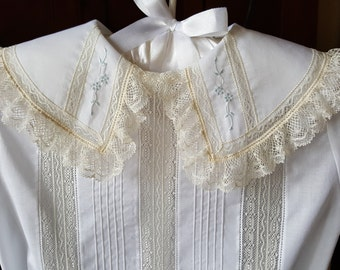 Button-on Suit with Pintucks and Collar with Hand Embroidery
