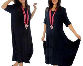HD900SW Kleid Lagenlook Tunika Ballonform Kurzarm asymmetrisch Gr. 38 40 42 44 tragbar schwarz
