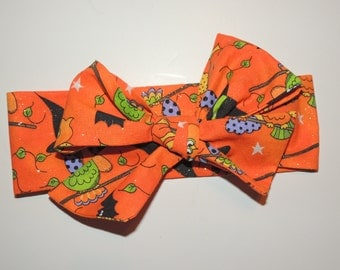 Bow head wrap, Hallowen headband, Bow tie headband