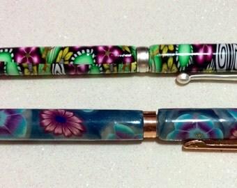 Handmade Polymer Clay Slimline Pen - Set of 2