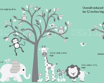 Safari Animal Wall Decal, Grey Chevron Nursery Wall Decal, Jungle Animal wall decal, Grey Tree Wall Decal, Smaller Grey Chevron Design