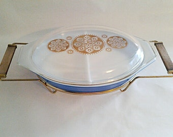 Vintage Promotional Pyrex Royal Blue Casserole Dish W/Lid and Carrier, 1961 Collectible Replacements/ USA Made/Medallion Pattern