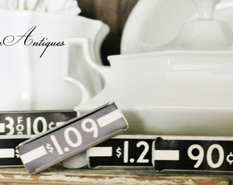 Vintage Metal Price Tag Holder Mercantile Shelf Clip Numbers Industrial Sign Farmhouse Decor Fixer Upper Style
