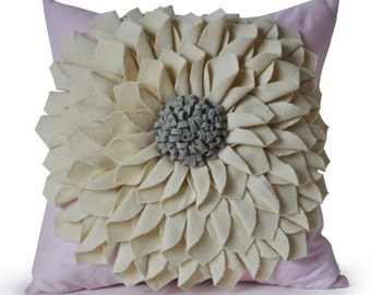 Felt Flower Pillow Cover -Ivory Gray Pink Pillow Case -Floral Decorative Pillow -Gift -Birthday -Valentine Gift -Housewarming -Dorm -Nursery