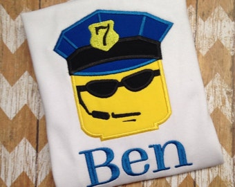 Lego birthday shirt Police shirt Personalized Birthday Shirt Lego policeman Lego shirt
