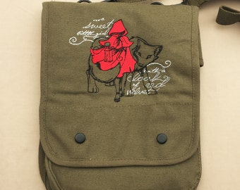 Little Red Riding Hood Embroidered Tablet Bag (Home Embroidered)