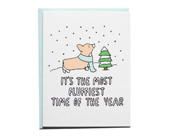 Fluffiest Time of The Year Card, Holiday Card, Corgi Holiday Card, Corgi Christmas, Holiday Card, Holiday Card, Corgi Card