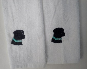Embroidered Hand Towels Black Lab Dog Breed, AKC Dog Breed, Show Dog, Hunting Dog, Pet, Labrador, Hunting Dog, Field Dog