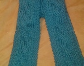 Hand knit teal cabled merino wool scarf