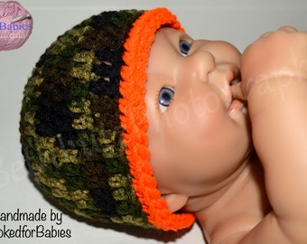 Baby Shower Gift Boy 3-6 months Baby Boy Hat, Camo Baby Boy, Camo Hunter Baby Hat, Hunting Camo Baby Boy Gift, Infant Boy Hat, New Baby Gift