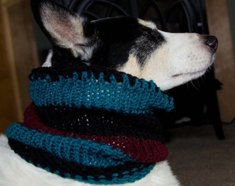 "Knitted Dog Scarf, Knitted Dog Cowl, Dog Cloths,  Size Medium Measures 16"" Circumference by 11"" Dress up your Pooch in Style Blues and Black"