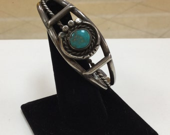 Vintage Native American Sterling Silver Bracelet With Turquoise !!!